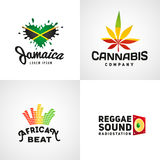Set of african rasta beat vector logo designs Stock Photo