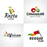 Set of african rastafari sound vector logo designs Stock Images