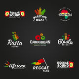 Set of african rastafari sound vector logo designs Royalty Free Stock Image