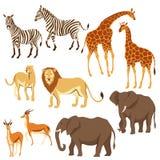 Set of African savanna animals. Stylized illustration stock illustration