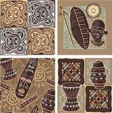 Set of African Seamless Tiles. (wallpaper, texture, background stock illustration