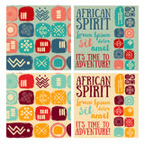 Set of `african spirit` banners and ethnic seamless patterns Stock Photography