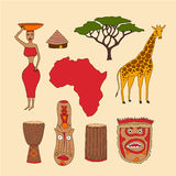 Set of african symbols Stock Photos