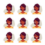 Set of african woman face expression avatars Royalty Free Stock Photography