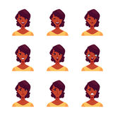 Set of african woman face expression avatars. African girl face expression, set of cartoon vector illustrations  on white background. Black woman emoji face Stock Photos