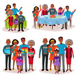 Set of afro-american family at holidays or festive. Afro-american or aframerican family portraits, set of isolated relatives at holiday or celebration with gifts Stock Photo