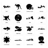 Set of afro, kentucky state, star david, moose head, goldfish, ohio, ninja, football helmet, haiti icons. Set Of 16 simple editable icons such as afro, kentucky Stock Photo