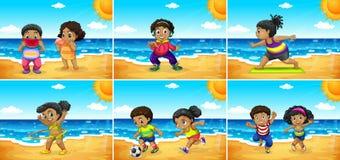 Set afrykanów dzieciaki przy plażą royalty ilustracja