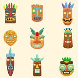 Set afrykanin, zulu, meksykanin, hindus, inka lub aztec, maskuje odosobnionego na białym tle ilustracji