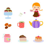 Set of afternoon tea icon Stock Photography