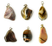 Set of agate pendants Royalty Free Stock Image