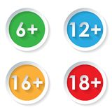 Set of age restriction flat icons Stock Image