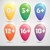 Set Of Age Restriction Signs. Stock Photography