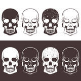 Set of aggressive skulls vector design Royalty Free Stock Photography