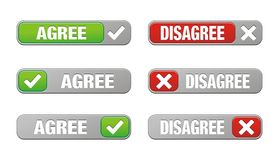 Set of agree and disagree buttons. Suitable for user interface royalty free illustration