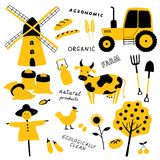 Set of agricultural and farm tools, animals, plants and machinery. Cartoon cow, chicken, tractor, scarecrow, mill, wheat. royalty free illustration