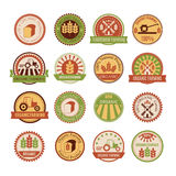 Set of 16 agricultural and farming badges Stock Images