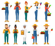 Set of agricultural illustrations with farmers. Stock Images