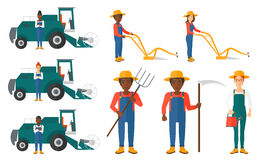Set of agricultural illustrations with farmers. Royalty Free Stock Image