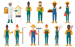 Set of agricultural illustrations with farmers. Royalty Free Stock Photo