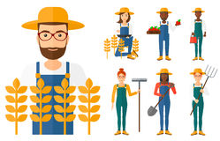 Set of agricultural illustrations with farmers. Royalty Free Stock Photos