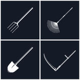 Set of Agricultural Tools on Black Background Stock Image