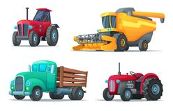 Set of agricultural transport. Farm equipment, tractors, truck and harvester. Industrial vehicles. Cartoon design vector Royalty Free Stock Photo
