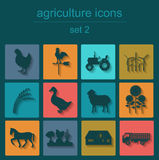 Set agriculture, animal husbandry icons Royalty Free Stock Photography
