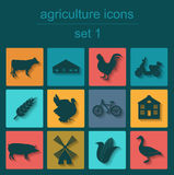 Set agriculture, animal husbandry icons Royalty Free Stock Photo