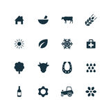 Set of agriculture, farm icons Stock Image