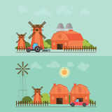 Set of agriculture farmhouse with wind mill. Set of agriculture farmhouse with wind mill ,tractor and car isolated on green background Stock Photo