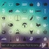 Set of agriculture icons. 42 agriculture modern icons for mobile interface on blurred background Stock Photography