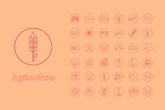 Set of agriculture simple icons Royalty Free Stock Image