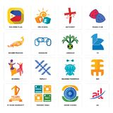 Set of ail, ashok chakra, 10 years warranty, bearded fisherman, bhangra, jamaican, golden peacock, antichrist, philippine flag ico. Set Of 16 simple  icons such Stock Photo
