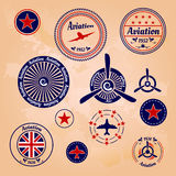 Set of air badges and labels Stock Photos