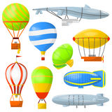 Set air balloons and airships. Royalty Free Stock Image