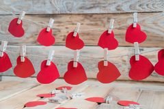 Set of Air Balloons. Bunch of red color heart shaped foil balloons on white background. Love. Holiday celebration. royalty free stock photo