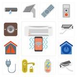 Set of Air conditioner, Security camera, Power, Handle, Plug, Sm vector illustration