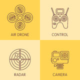 Set of air drone equipment Royalty Free Stock Images