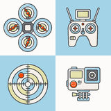 Set of air drone equipment Stock Photos