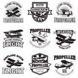 Set of air force, airplane show, flying academy emblems. Vintage. Planes. Design elements for logo, badge, label. Vector illustration Royalty Free Stock Image