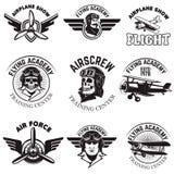 Set of air force, airplane show, flying academy emblems. Vintage. Planes. Design elements for logo, badge, label. Vector illustration Royalty Free Stock Images