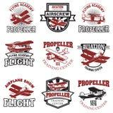 Set of air force, airplane show, flying academy emblems. Vintage. Planes. Design elements for logo, badge, label. Vector illustration royalty free illustration