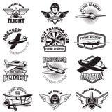 Set of air force, airplane show, flying academy emblems. Vintage. Planes. Design elements for logo, badge, label. Vector illustration Stock Photos