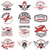 Set of air force, airplane show, flying academy emblems. Vintage. Planes. Design elements for logo, badge, label. Vector illustration Stock Photo