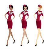 Set Air hostess in uniform, isolated on white royalty free illustration
