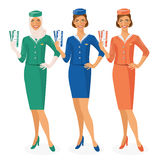 Set of 3 air hostesses Dressed In Uniform With Color Variants. Arab and European stewardess. Vector illustration Royalty Free Stock Images