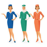 Set of 3 air hostesses Dressed In Uniform With Color Variants. Arab and European stewardess. Stock Photography