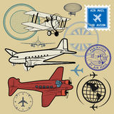 Set of air mail and airplane symbols Stock Photo