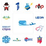 Set of air mail, superstar, house, metallurgy, ferris wheel, track and field, great clips, login, carnaval icons. Set Of 13 simple editable icons such as air Royalty Free Stock Image